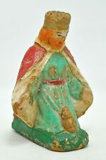 Antique Terracotta European Joseph Jesus Figurine Original Old Painted Clay Stat