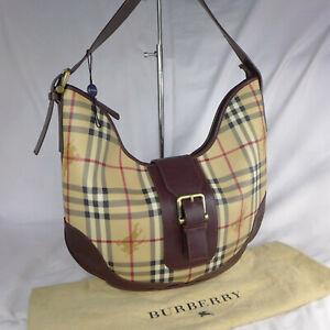 Authentic Rare Vintage Burberry Haymarket Check Medium Hobo Shoulder Handbag VGC