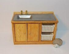 Dollhouse Miniature Oak Kitchen Sink 1:12 one inch scale Y34 Dollys Gallery