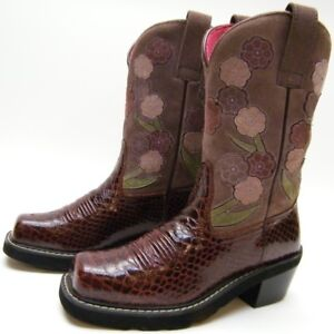 WOMENS ARIAT 16263 SNAKE PRINT FLORAL MAROON LEATHER COWBOY WESTERN BOOTS 6 B 6B