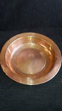 """VM26) Copper rimmed dish bowl - w maker's mark w floral - vintage 11.5"""" diameter"""