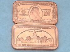 1 Ben Franklin 1899 Us $100 Silver Currency Cert. 1 oz .999 Copper Bar