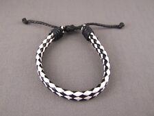 Black White braided woven faux leather cord surfer sailor bracelet adjustable