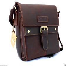 Genuine oiled Leather Shoulder Bag Messenger Cross Shoulder Briefcase vintage IL