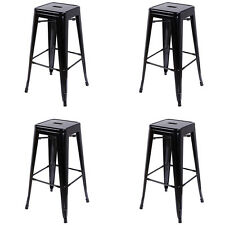 """Set of 4 Metal Bar Stools 30"""" Stackable Tolix Style Stools Backless Industrial"""
