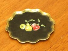Florence Magee Hand Painted Toleware Round Tray Artist Dollhouse Miniature