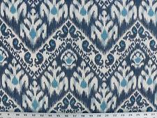 Drapery Upholstery Fabric Rustic Tribal Ikat Design - Monico Blue