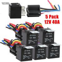 5Pack 12V 30/40 Amp 5 Pin SPDT Automotive Relay W/ Wires & Harness Socket Set