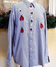 Las Olas XL Embellished Lady Bug Pinstripe Shirt Black/Multi Long Sleeves Collar