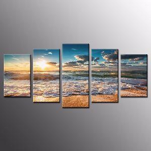 FRAMED Landscape Wall Art Decor Beach Sunrise Waves Stretched Canvas Prints-5pcs