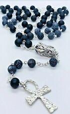 Black Dragon Egg Veins Agate  Men's Women's Rosary Necklace Ankh Cross