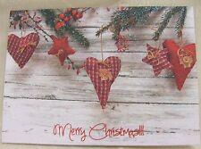 GLITTER Rustico Country Cuori Cartoline di Natale Confezione da 10 ~ 100% per beneficenza ~