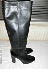 Black Real Leather Long Boots Size UK 6.5 EUR 40