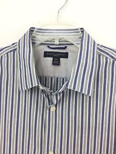 Banana Republic 16-16&1/2 Large Men's Gray Blue Striped Dress Shirt Slim Fit New