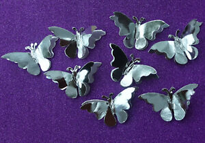 20 SILVER decorative DOUBLE butterflies For Cardmaking, Weddings,Crafts, Art