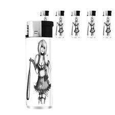 Bad Girl Pin Up D7 Lighters Set of 5 Electronic Refillable Butane