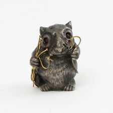 Antique Imperial Russian Silver Faberge Mouse Ruby Eyes & Gold, St Petersburg