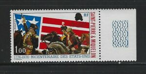 ST. PIERRE & MIQUELON - #447 - AMERICAN REVOLUTION MINT STAMP WITH TAB (1976)MNH