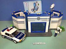 (O4264.1) playmobil Caserne de police + moto + voiture ref 4264