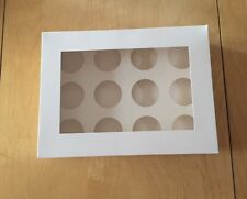 Cake Boxes 12 Hole Cupcake Box x 100 WHOLESALE Cup Cakes  Window White  Muffin