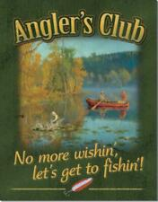 Angler's Club No More Wishing Lets Get To Fishing Tin Metal Sign Made In The Usa