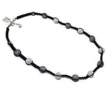 """Candy Gris y Blanco Cristal Bling"", Cable De Plata Esterlina & Collar (RRP £ 110)"