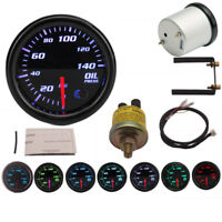 "2"" 52mm 12V 7 Colors Universal Oil Press Gauge Oil Pressure Meter LED PSI Sensor"