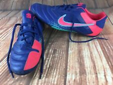 Nike Elastico Pro in pelle scarpe da calcio ROYAL Rosa Retrò UK 12 EUR 47 uso interno