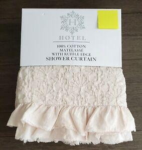 Hotel Cotton Matelasse Beige Fabric Ruffle Edge Shower Curtain 72x72