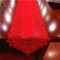 WR_ CHRISTMAS LACE TABLE RUNNER TASSELS TABLECLOTH XMAS PARTY HOME COVER DECOR F