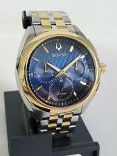 Offer! BULOVA 98A159 CURVED BLUE FACE 45MM LUXURY MEN'S WATCH TWO TONE SAPPHIRE