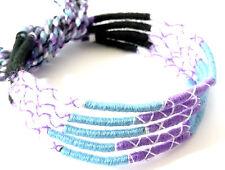 Lot 5 Bracelets Brésiliens de l'Amitié Macramé coton noir bleu blanc