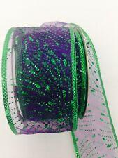 25 yard Purple Green Fireworks Spray Wired Ribbon Glitter Celebration Birthday