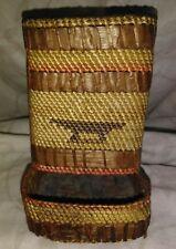 Vintage Cedar Bark And Dried Grasses Match Box Holder Basket Pacific NW Coastal