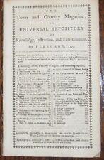 1779 TOWN COUNTRY MAGAZINE NEW YORK BRONX HARLEM Feb. Rev. War GEORGE WASHINGTON