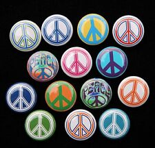 "14 PEACE SYMBOLS Pinbacks Buttons Badges 1"" Set Retro Hippie"