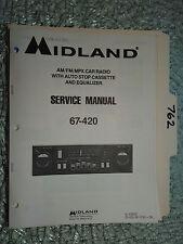 New listing Midland 67-420 service manual original repair book mpx car radio tape deck eq