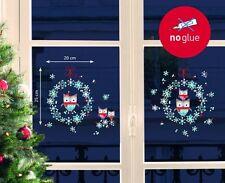 Fenstersticker Weihnachtssticker 38-teilig - Kranz Eulenfamilie Winter Schnee
