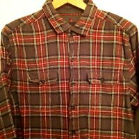 Vintage WOOLRICH Mens Large Flannel Shirt Cotton Gray Red Plaid Long Sleeve