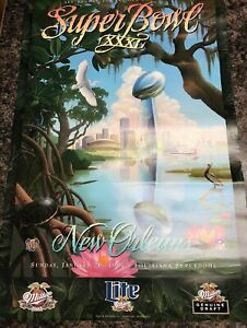 "1997 Super Bowl XXXI Bar Poster, New Orleans 20"" X 30"" Packers vs. patriots NOS"