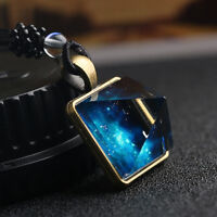 Vintage Galaxy Nebula Pyramid Luminous Glow in the dark Glass Pendant Necklace