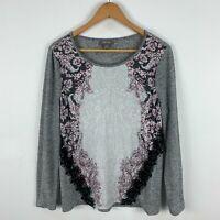 Sussan Womens Shirt Top Medium Grey Floral Long Sleeve Round Neck