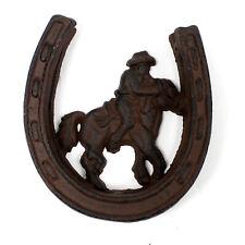 Cowboy & Horse Shoe Cast Iron Door Knock Western Rustic Metal Look Knocker