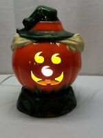 Vintage Ceramic Jack O Lantern Pumpkin Scarecrow Witch Lamp Light Halloween Base