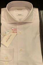 Isaac Mizrahi Men's 100% Cotton Solid White Slim Fit Dress Shirt Size 15,15.5,16