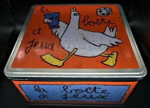 Massilly French Removable Lidded Biscuit, Cookie Metal Box/Tin, Metal, 9.5x9x5