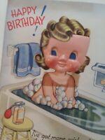 Vtg 40-50s GIRL Plastic DOLL Face BATHTUB Perfume Bottle BIRTHDAY GREETING CARD