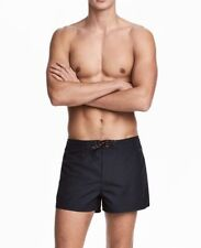 Men's Ex H&M Sexy Swimming Shorts lacing concealed Zip Mesh Lining Striped BNWT