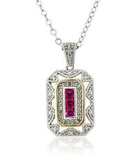 Women's ruby 14k Yellow Gold 925 Silver Pendant Art Deco Style Drop Necklace