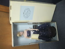 Franklin Mint Princess Diana Vinyl 16 Inch Doll In Navy Blue Dress NEW